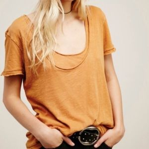 Free People phoebe double layer tee in ochre